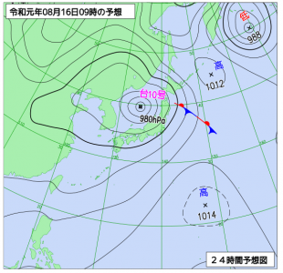 8月16日(金)9時の予想天気図