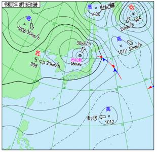 8月16日(金)15時の実況天気図