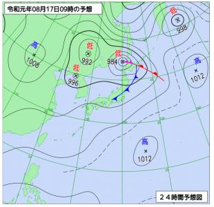8月17日(土)9時の予想天気図
