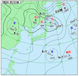 8月17日(土)15時の実況天気図