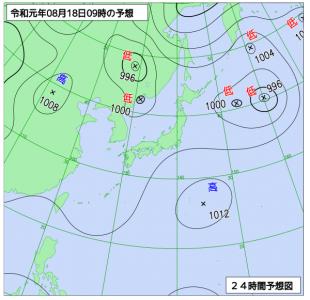 8月18日(日)9時の予想天気図