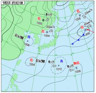 8月18日(日)15時の実況天気図