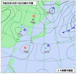 8月19日(月)9時の予想天気図