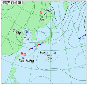 8月19日(月)15時の実況天気図