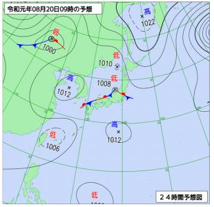 8月20日(火)9時の予想天気図