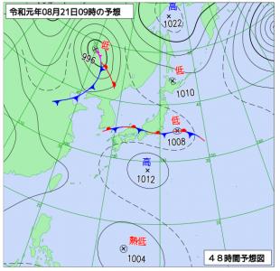 8月21日(水)9時の予想天気図