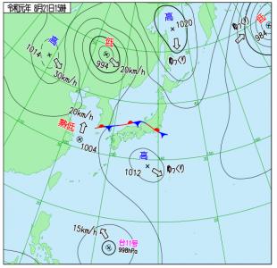 8月21日(水)15時の実況天気図