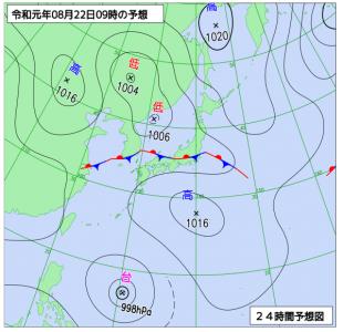 8月22日(木)9時の予想天気図