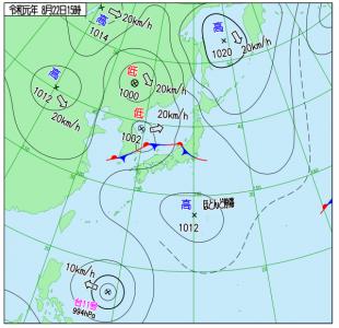 8月22日(木)15時の実況天気図