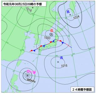 8月23日(金)9時の予想天気図