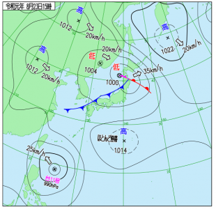 8月23日(金)15時の実況天気図