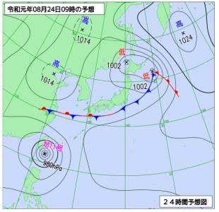 8月24日(土)9時の予想天気図