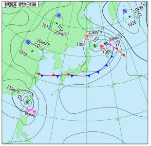8月24日(土)15時の実況天気図