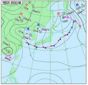 8月25日(日)15時の実況天気図