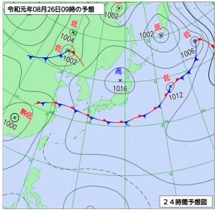 8月26日(月)9時の予想天気図