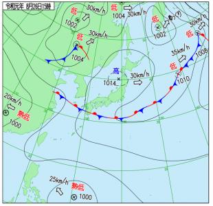 8月26日(月)15時の実況天気図