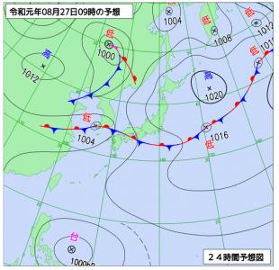 8月27日(火)9時の予想天気図