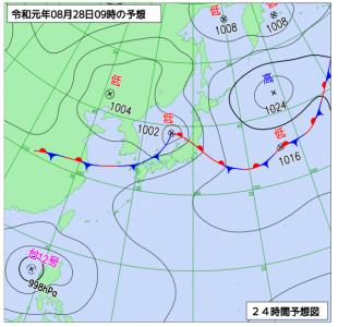 8月28日(水)9時の予想天気図