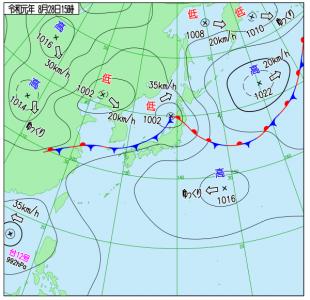 8月28日(水)15時の実況天気図