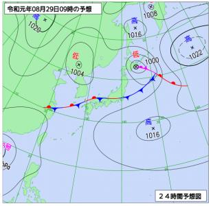 8月29日(木)9時の予想天気図