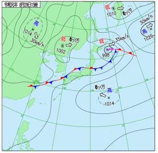 8月29日(木)15時の実況天気図