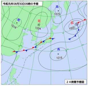 8月30日(金)9時の予想天気図