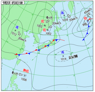 8月30日(金)15時の実況天気図