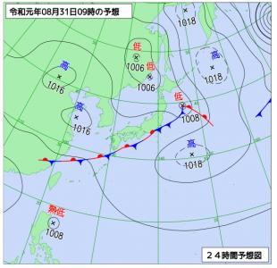 8月31日(土)9時の予想天気図