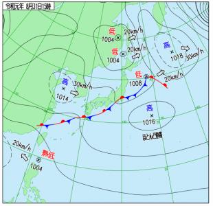 8月31日(土)15時の実況天気図