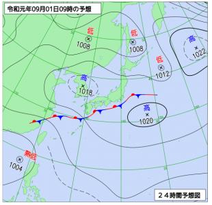 9月1日(日)9時の予想天気図