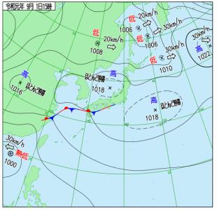 9月1日(日)15時の実況天気図