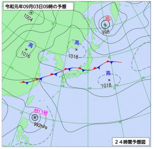 9月3日(火)9時の予想天気図