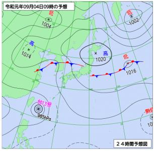 9月4日(水)9時の予想天気図