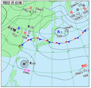 9月4日(水)15時の実況天気図