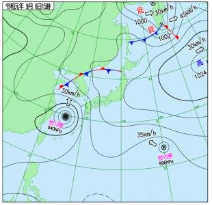 9月6日(金)15時の実況天気図