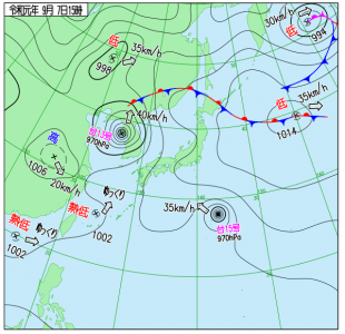 9月7日(土)15時の実況天気図