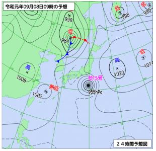 9月8日(日)9時の予想天気図