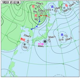 9月8日(日)15時の実況天気図