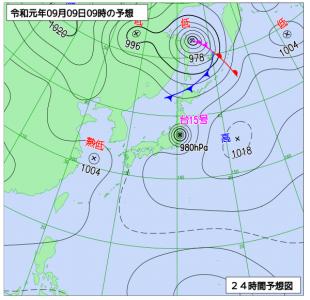 9月9日(月)9時の予想天気図