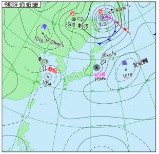 9月9日(月)15時の実況天気図