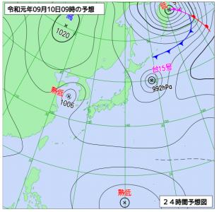 9月10日(火)9時の予想天気図