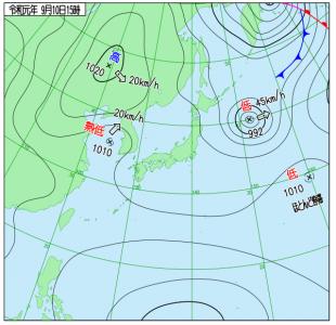 9月10日(火)15時の実況天気図