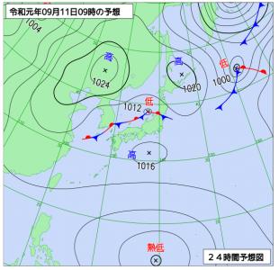 9月11日(水)9時の予想天気図
