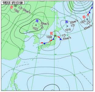 9月11日(水)15時の実況天気図