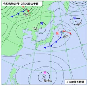 9月12日(木)9時の予想天気図