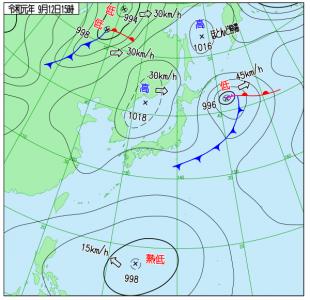 9月12日(木)15時の実況天気図