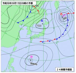 9月13日(金)9時の予想天気図