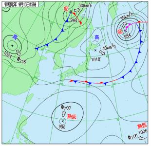 9月13日(金)15時の実況天気図
