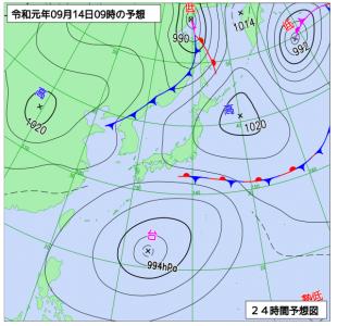 9月14日(土)9時の予想天気図
