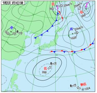 9月14日(土)15時の実況天気図